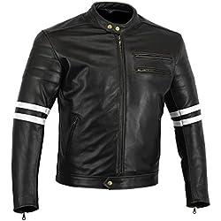 Bikers Gear UK chaqueta moto Cafe Racer en color negro envejecido y Blanco Cuero de Calidad con protecciones homologadas y extraíbles talla L