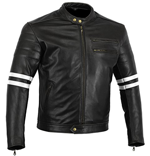 Motorcycle Jacket Black & White Matt Cowhide Leather Cafe Racer Hybrid CE Approved Armour (XL (UK 42/EU52)