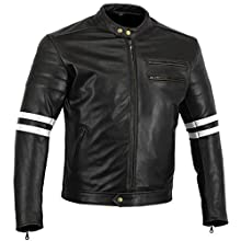 Bikers Gear The Rocker Motorcycle Black Leather Cafe Racer Jacket CE1621-1 PU Armour, White, UK 40 EU 50 Large