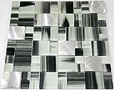 Restposten Glasmosaik Bad Küche WC schwarz weiß Mix Glas Alu 8mm Neu #HO14