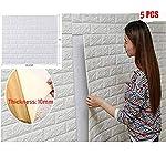 5 piezas 77*70cm 3D Ladrillo Pegatina Pared Autoadhesivo Panel Pared Impermeable, papel pintado blanco del ladrillo, paneles 3D de la pared,Papel Pintado