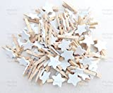 10pcs 30mm Mini Clothes Pegs with 18mm White Stars Craft For Shabby Chic Wedding & Christmas