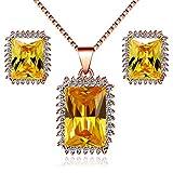 Uloveido Y446 - Conjunto de joyería para mujer, chapado en oro rosa, rectangular, collar de citrino amarillo simulado, pendientes de noviembre.