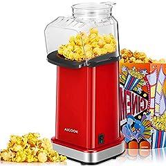 Idea Regalo - Aicook Macchina per Pop Corn, 1400W Macchina Popcorn, Funzionamento ad Aria Calda, Senza Oli e Grassi, Coperchio Rimovibile, Senza BPA