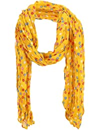 sourcingmap Women Dots Prints NEWS Casual Soft Scarf Yellow