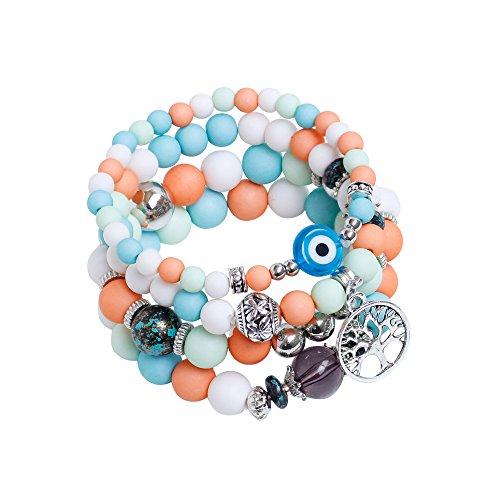 REFAGO Inspirational Beads Stretch Bracelet with Tree of Life Charm Multi Layer Wrap Handmade Jewelry Gift for Teenage Girls N02 -