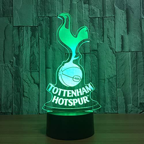 orangeww3D Illusion Lampe/Beast FCB Tottenham Hotspur Abstract Horse 7 Farbwechsel Nachtlichter neben Tischlampe/Smart Touch Button Tottenham Hotspur