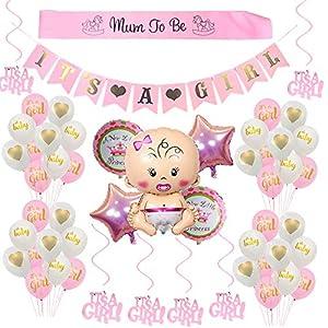 Babyparty Deko für Mädchen/its a girl babyshower deko/Baby Dusche Dekoration Ballons/its a girl Banner+5 Heliumballon Baby Folienballon+18 Latexballons, Mum to be Schärpe, 6 Hängende Wirbel