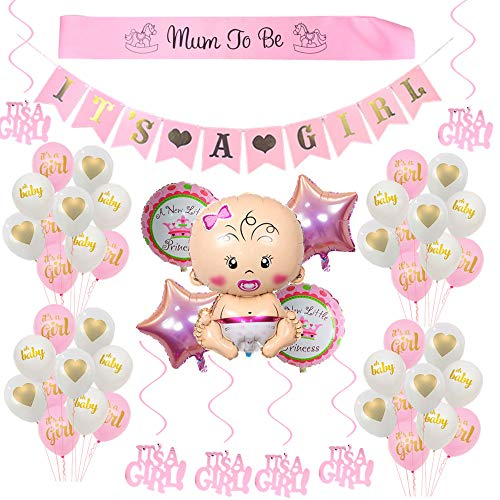 Mädchen/its a girl babyshower deko/Baby Dusche Dekoration Ballons/its a girl Banner+5 Heliumballon Baby Folienballon+18 Latexballons, Mum to be Schärpe, 6 Hängende Wirbel ()
