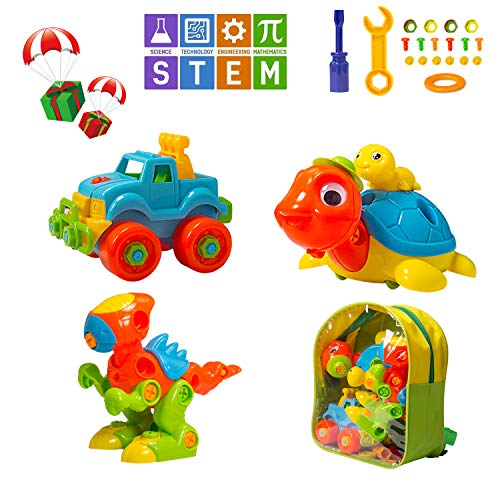MARKKEER Dinosaur Toys Take Apart Toys with Tools Car,Turtle,Dinosaur Take Apart Toy Sets,STEM Learning, Take Apart Fun Construction Engineering Building Play Set for Boy Girl Toddler, Toy Gift Kids