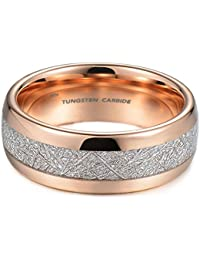 Mens Rose Gold Tone Tungsten Carbide Unisex Wedding Engagement Ring With Imitation Meteorite Inlay