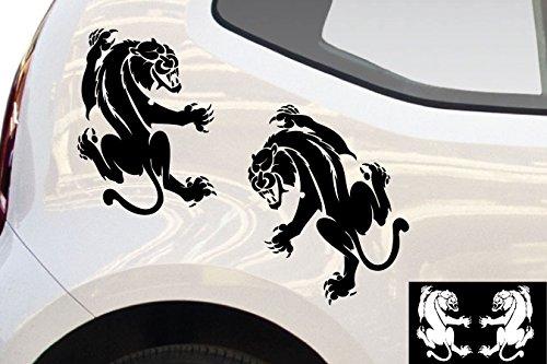 kleb-drauf® - 2 Panther / Schwarz - matt - Aufkleber zur Dekoration von Autos, Motorrädern und allen anderen glatten Oberflächen im Außenbereich; aus 19 Farben wählbar; in matt oder glänzend