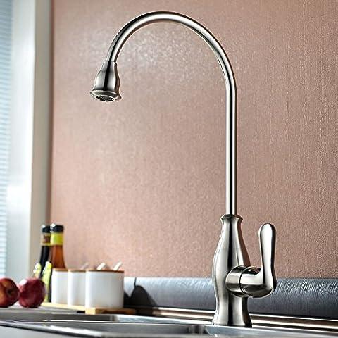 Tutti rame spazzolato cucina acqua di rubinetto miscelatore lavandino Piatti caldi e freddi ruotare 3025C RUBINETTO DI CUCINA