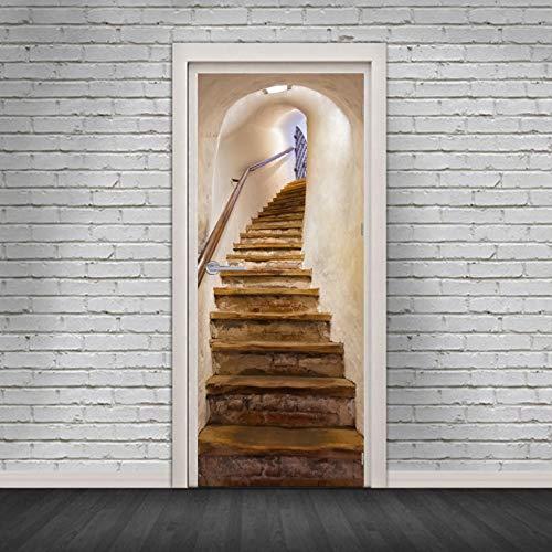 fenjinsheng Vinilos para Puertas Vinilo Puerta Escaleras De Caracol 3D Adhesivos Decorativos Adhesivos De La Puerta DIY Adhesivos Impermeables Extraíbles De La Puerta