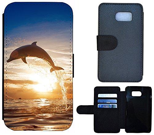 Schutz Hülle Flip Cover Handy Tasche Etui Case für (Apple iPhone 5 / 5s, 1232 Herz Abstract Lila) 1239 Delfin Brau Grau