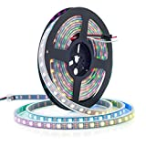 BTF-LIGHTING WS2812B 5M 60 LEDs/Pixels/m 300LEDs RGB Schwarz PCB Streifen mit 5050 SMD LEDs Wasserdicht in Rohr IP67