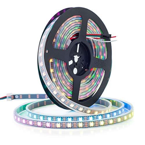 btf lighting 16 4ft 5m ws2812b 60leds pixels m impermeable ip67 negro pcb flexible individualmente direccionable full color dc5v