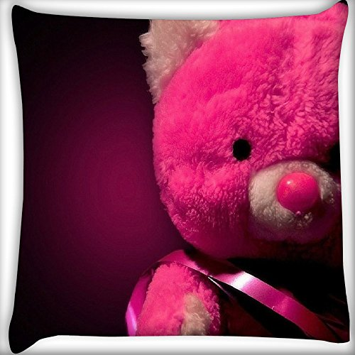 Snoogg Pink Teddy Bear 24 X 24 Inch Throw Pillow Case Sham Pattern Zipper Pillowslip Pillowcase For Drawing Room Sofa Couch Chair Back Seat  available at amazon for Rs.399