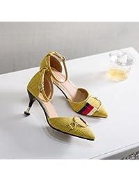 GAOLIM Sandalias Primavera Punta Hebilla Solo Zapatos Zapatos De Mujer Sujetadores Ranurado, A La Luz De La Multa...