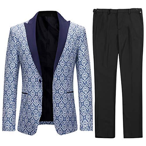 Herren Anzüge 2 Stück formelle Slim Fit Hochzeit Business Anzüge Smoking Jacke & Hose Gr. XL, blau