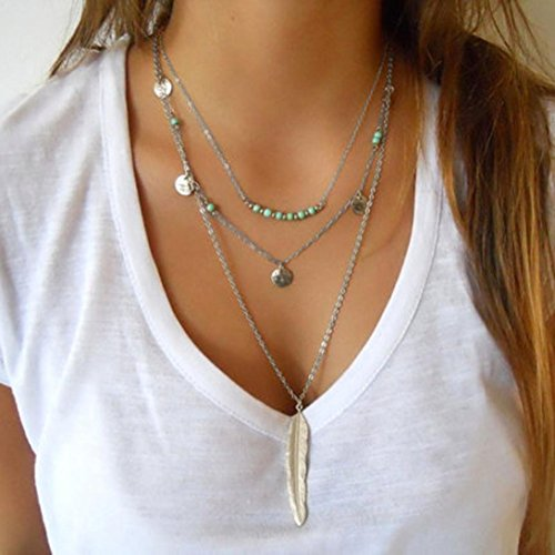 Fashion Necklace for Women,Ouneed Multilayer Irregular Pendant Long Chain Statement Necklace Best Gift (Silver)
