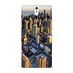 Sony Xperia C5 Case, Sony Xperia C5 Hard Protective SLIM Cover [Shock Resistant Hard Back Cover Case] for Sony Xperia C5 -Chicago Aerial View Sunset
