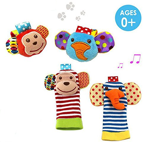 Dear Deer 4 x Baby Infant Soft Toy Animal Wrist Rattles Hands Foots Finders Developmental Toys (Monkey and Elephant)