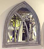 Antikas - Spiegel als Fenster, Wandspiegel mit Holzrahmen, Spiegel in gothischer Form Grey
