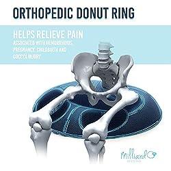 Milliard Schaumstoff-Donutkissen, orthopädischer Ring, Sitzkissen mit abnehmbarem Bezug, für Hämorrhoiden, Steißbeinbeschwerden, Hüftnervprobleme und zur Schwangerschaft, groß, 50cm x 38cm