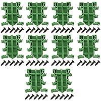 Hilitand 10 Juegos PCB DIN C45 Carril Adaptador Soporte de Montaje en Placa de Circuito Soporte, Carril DIN de 35 mm (Verde)