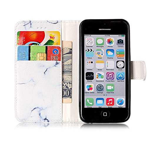 Custodia Cover per iPhone 5C Nero Marmo,Flip Cover iPhone 5C a Libro,BtDuck Ultra Sottile Elegante PU Pelle Borsa e Portafoglio Tasca Libro Stand Bumper Case Morbido Silicon Back Case Full Body Flip C iPhone 5C - Bianco Marmo