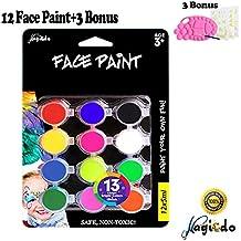 Magicdo vernice per viso e corpo,12x12ml,1 paletta,1 spazzola,30 stencil,kit per trucco art, kit ricco di pigmenti,non tossico per acque basate su acqua,perfetto per la faccia o la pittura del corpo