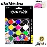 Magicdo Pintura Facial y Corporal,12 x 12ml,1 paleta,1 cepillo,30 plantillas,Kit de Maquillaje de arte, pigmento rico,no tóxico seguro basado en agua, perfecto para la pintura de la cara o del cuerpo