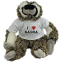 Bradypus de peluche con Amo Nasha en la camiseta (nombre de pila/apellido/