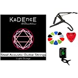 Kadence Accessory Combo of 41inch Guitar Strings, Pick Holder, Capo, Tuner and 10 picks