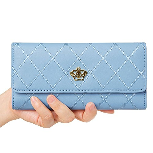 Chickwin Nueva Cartera Larga Femenina Del Monedero Fino De La Manera(Multicolor) (Azul claro)