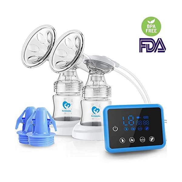 Breast Pump,Bellababy Dual Suction Electric Breastfeeding Pump Breast Massage with Full Touchscreen LED Display(with 10 Pcs Breastmilk Storage Bags) (Electric Breast Pump)