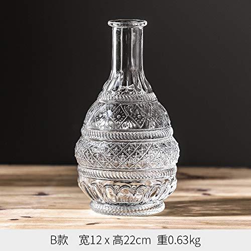 GBYJ Dekoration Vintage feine Mund Glas kleine Vase Dekoration transparent getrocknete Blumenarrangement Blumendekoration Tisch Blume, Madrid Vase - E Abschnitt Madrid Vase