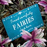 Fairies Sleep Here Wooden Garden Sign Plaque Stake Flowers Hearts