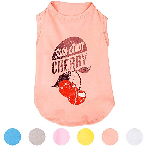 Blueberry Pet 36cm Rückenlänge Hundebekleidung Polo T-Shirt Kleid Hemd Kirschlimonade Bonbons Baumwolle Hundeshirt Trägerhemd Top in Hell-Koralle, L -
