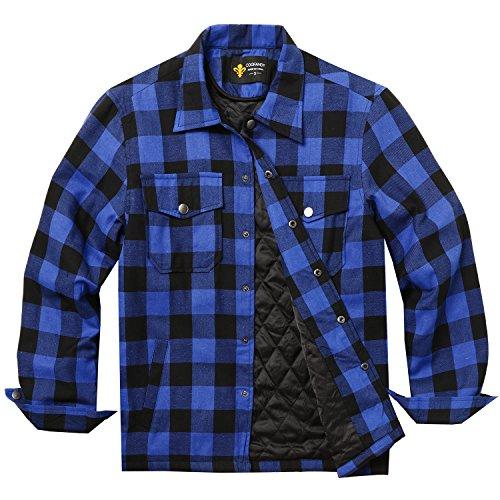 BURLADY Hemd Herren Kariert Innenfutter Winter Holzfällerhemd Thermohemd Hemdjacke Winterjacke Mantel Blau L