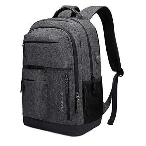 Xqka xm-zaino per laptop da lavoro, zaino per computer antifurto per uomo donna, borse da viaggio leggere con porta di ricarica usb, daypack resistente all'acqua casual per 15-15.6 pollici (nero)
