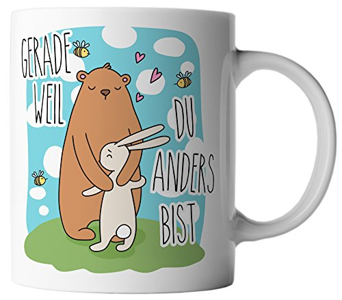 vanVerden Tasse Bär und Hase Gerade weil du anders bist inkl. Geschenkkarte, Farbe:Weiß/Bunt