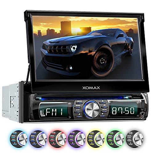 """XOMAX XM-DTSB931 Autoradio / Moniceiver avec 18 cm (7"""") écran tactile + Bluetooth kit mains libres + code libre Lecteur DVD / CD + carte SD, connexion USB + mp3, WMA, MPEG4, AVI + Simple DIN (DIN 1) Lecteur multimédia + 7 couleurs d'éclairage"""