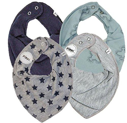 Pippi verschiedene SUPER KOMBI-SETS 3er Set Baby Kinder HALSTUCH Dreieckstücher Jungen Mädchen + 1 GRATIS Bestseller Dreieckstuch ~ Pack mit 4 Stück (Set STARS navy)