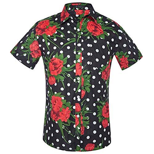 (UJUNAOR Männer Sommer Shirt Slim Fit Strand Rose Druck Kurzarmhemd Bluse(Schwarz,CN 2XL))