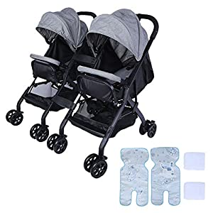 lyrlody Baby Stroller,Lightweight Twin Pushchair Detachable Double Stroller Multifunction Folding Anti-Shock Pram with Baby Cup Holder for Babies Toddlers Children Kids Grey   15