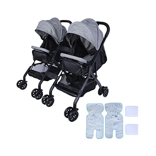 lyrlody Baby Stroller,Lightweight Twin Pushchair Detachable Double Stroller Multifunction Folding Anti-Shock Pram with Baby Cup Holder for Babies Toddlers Children Kids Grey lyrlody LIGHTWEIGHT DESIGN:2 in 1 design, can be detached and used separately.Shock resistant design can effectively prevent external shock and keep your baby's brain Durable:Made of aluminum alloy material, very sturdy.With the baby cup holder, it is convenient for your baby to drink water Very Convenient:Large capacity, can hold more items for children, such as diapers, clothes and bottles 1