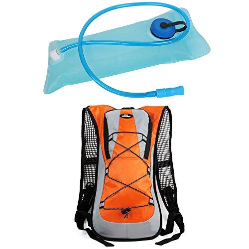 Hi 8Store zaino Water zaino idratazione borsa per corsa, trekking, ciclismo e altri sport all' aria aperta con free 2L TPU idratazione vescica, Green, Taglia unica Orange