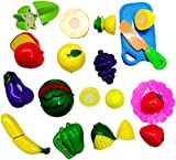 Blossom Realistic Sliceable Fruits and Vegetables Cutting Play Kitchen Set Toy (15 pcs set) with various Fruits,Vegetables,Knife,Plate and Cutting Board for Kids,Multi Color.